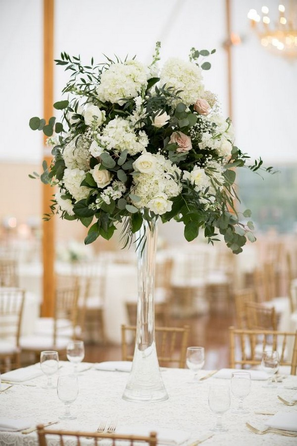 Tall Eucalyptus, Rose and Hydrangea Wedding Centerpieces