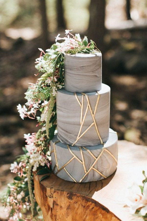 blue and gold woodland wedding cake