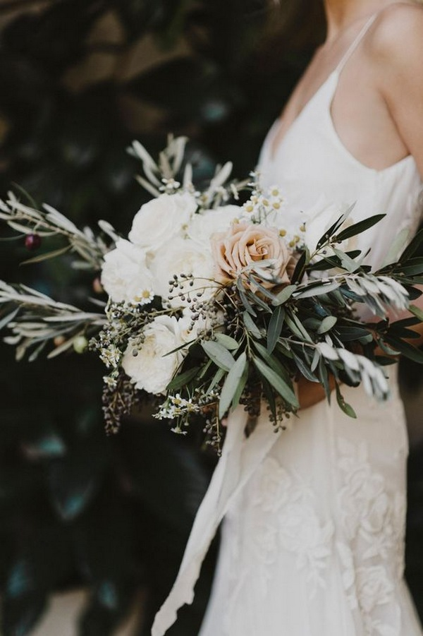 blush and greenery boho wedding bouquet