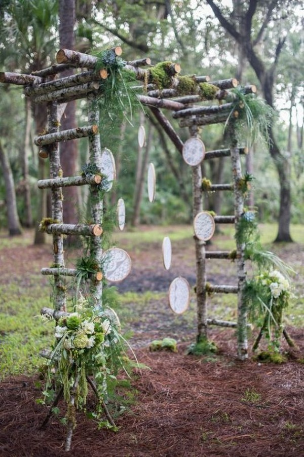 boho chic wedding arch ideas with dream catcher