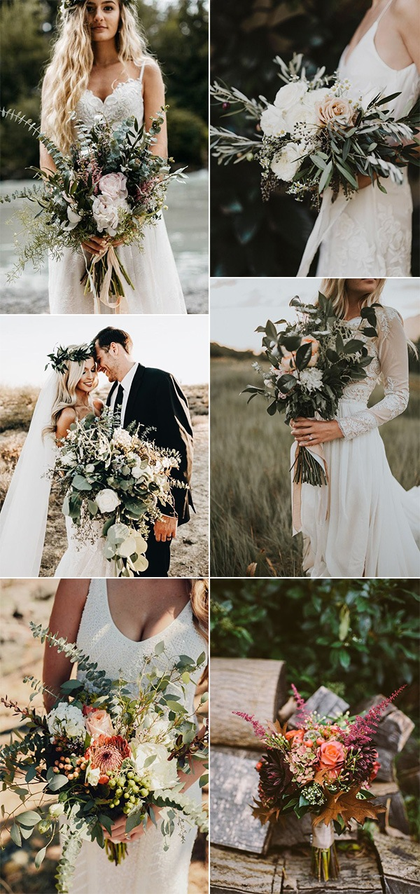 boho chic wedding bouquets ideas