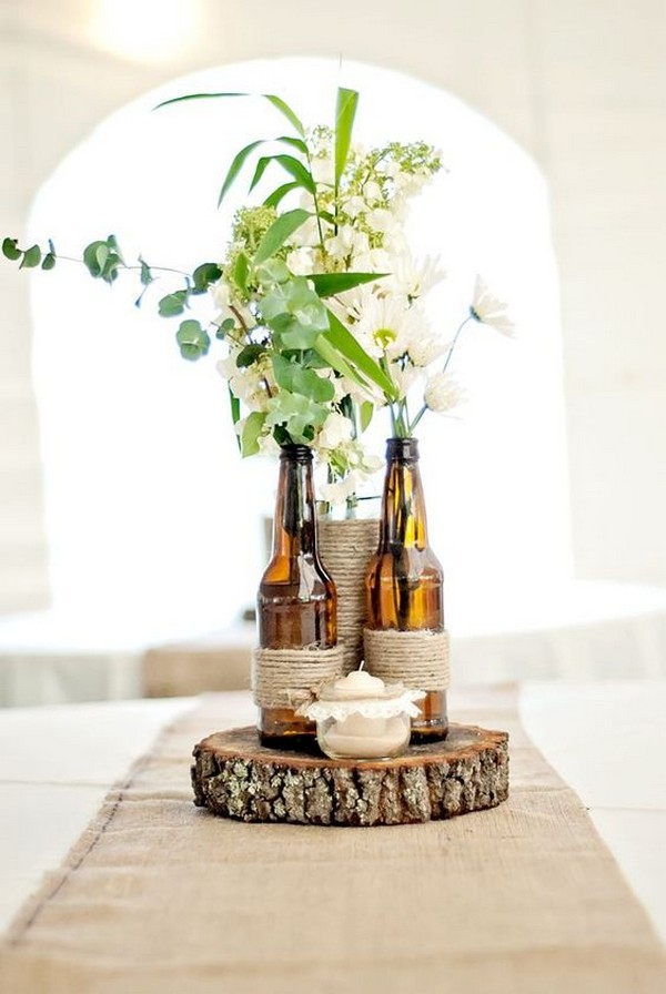 chic rustic wine bottle wedding centerpiece ideas