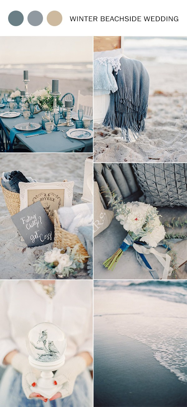 dusty blue and sand winter beachside wedding color ideas
