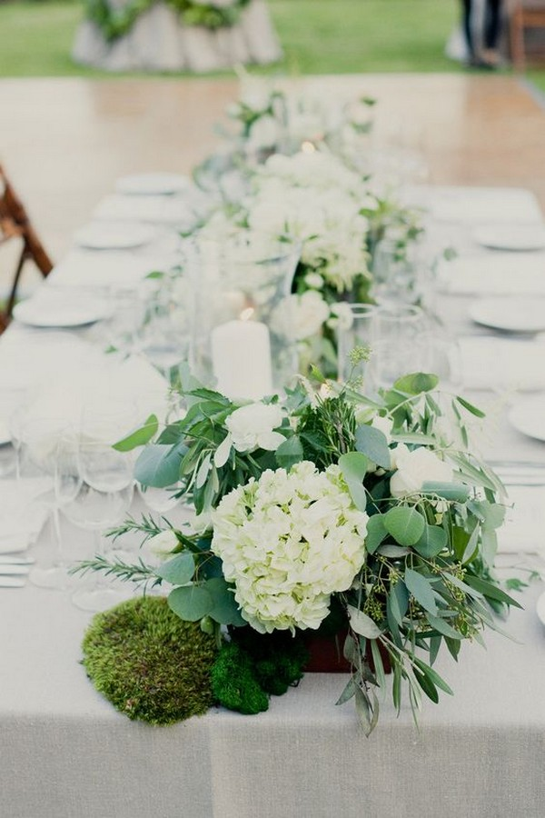 elegant hydrangea and eucalyptus greenery wedding centerpiece