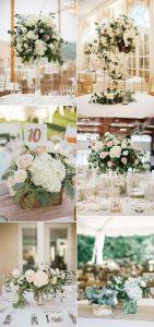 elegant hydrangea and eucalyptus trending wedding centerpieces