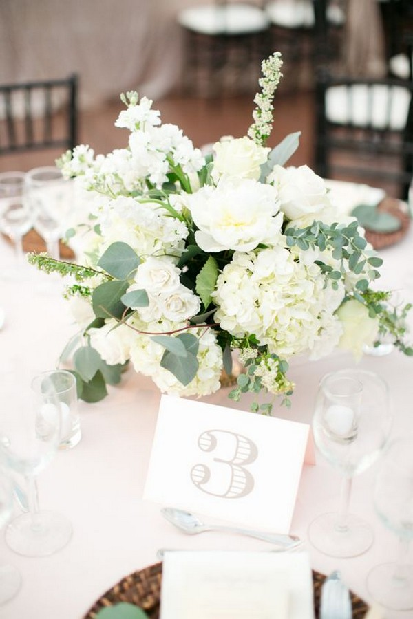 elegant hydrangea roses and eucalyptus chic wedding centerpiece