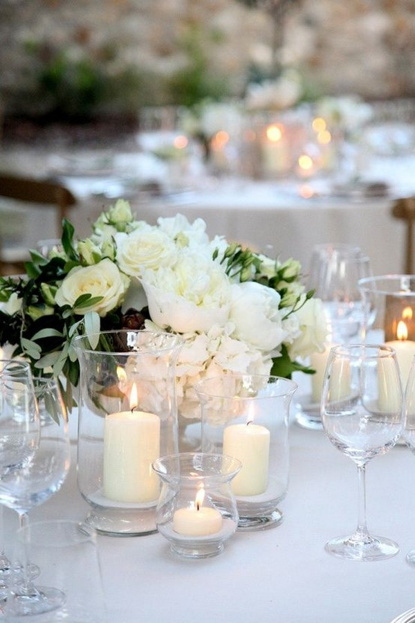 elegant hydrangea roses and eucalyptus wedding centerpiece