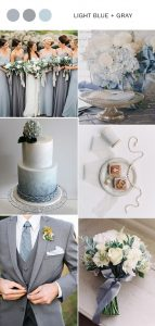 elegant light blue and gray wedding color ideas