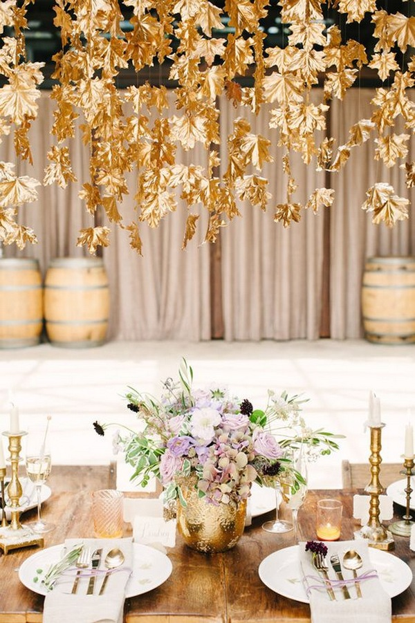 fall wedding table setting ideas with hanging gold maple leaves