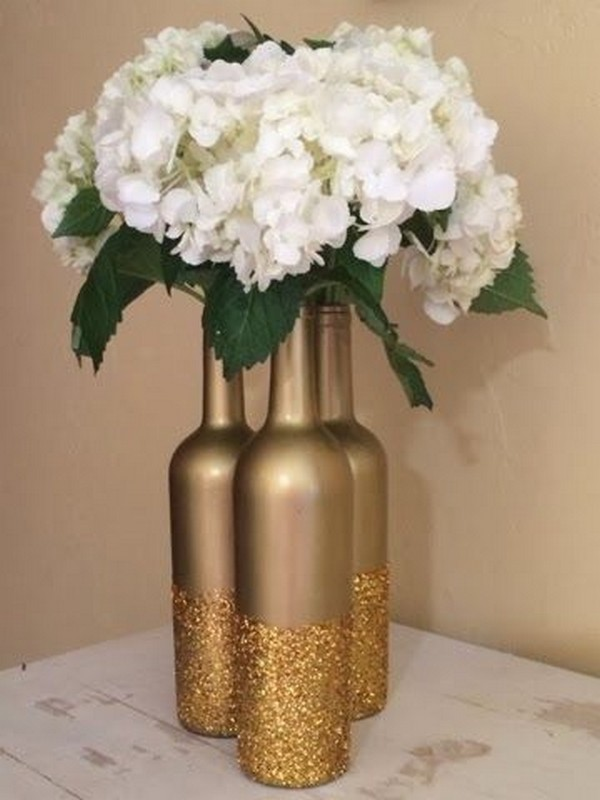 Glitter And Metallic Gold Dipped Wine Bottle Diy Wedding