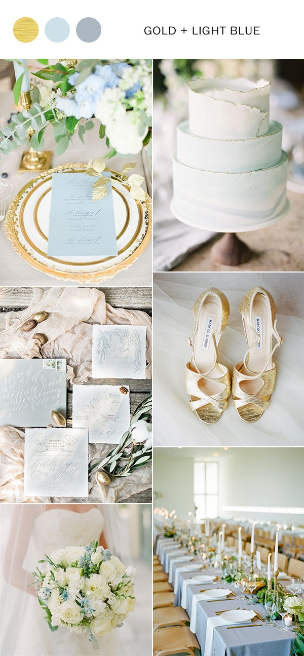 gold and light blue elegant wedding color ideas