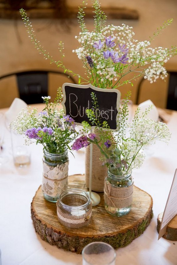 lace and burlap rustic wedding centerpiece ideas