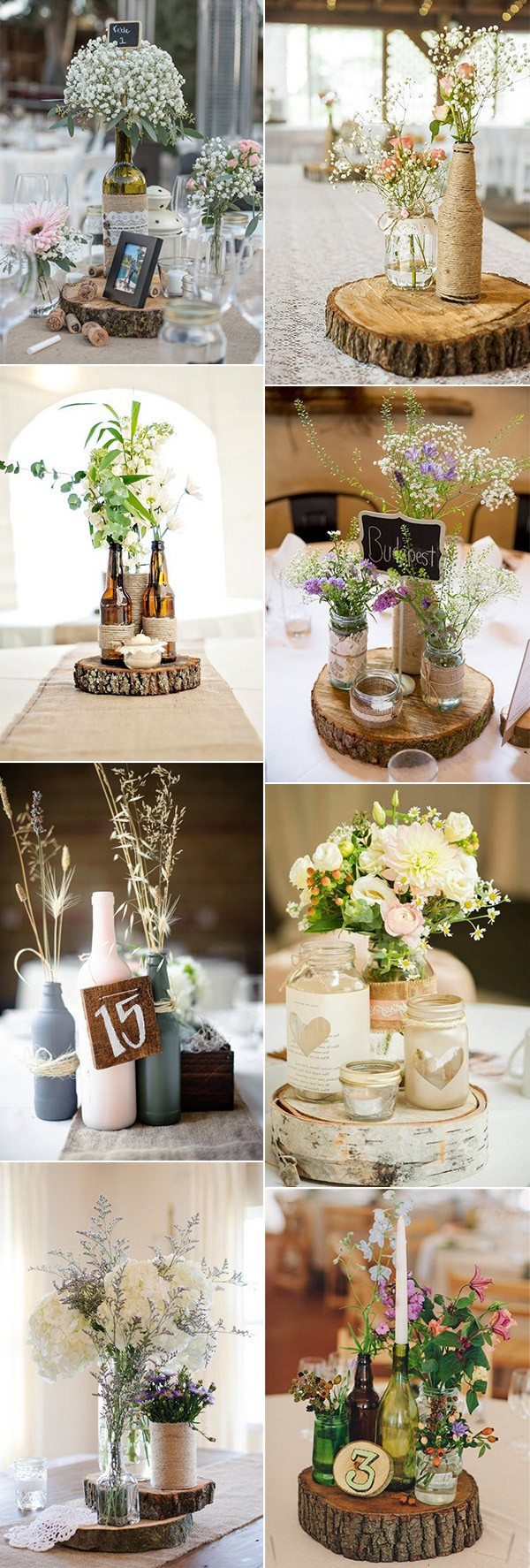 rustic chic wine bottles wedding centerpiece ideas