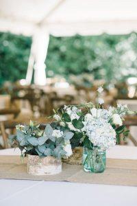 rustic hydrangea and eucalyptus wedding centerpiece