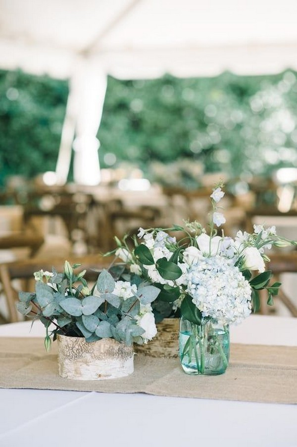 rustic hydrangea and eucalyptus wedding centerpiece