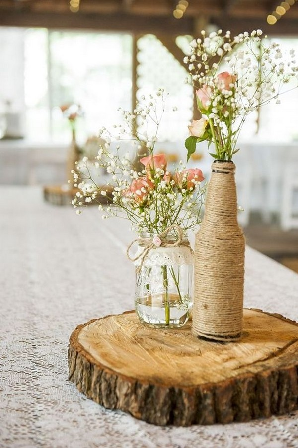 rustic wedding centerpiece ideas with wine bottle