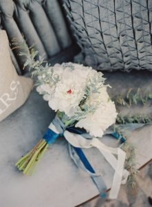 shades of blue and white wedding bouquet