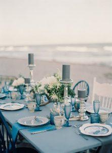 shades of blue wedding table settings