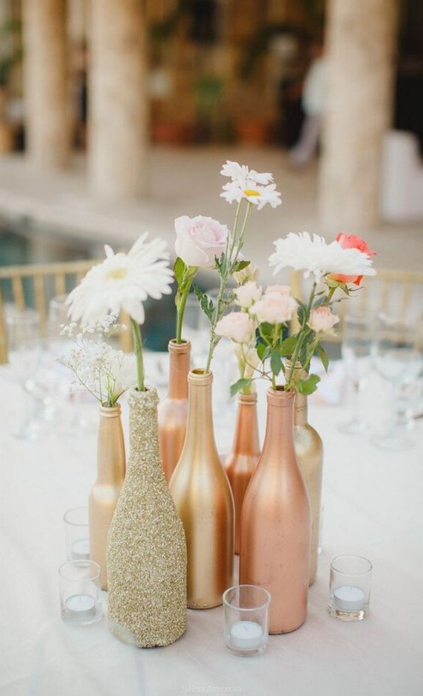 sparkle gold and rose gold wine bottles wedding centerpiece ideas