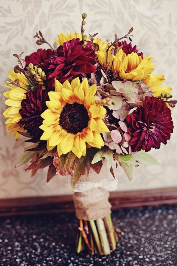 sunflower and Dahlia fall wedding bouquet