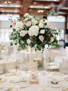 tall hydrangea roses and eucalyptus chic wedding centerpiece