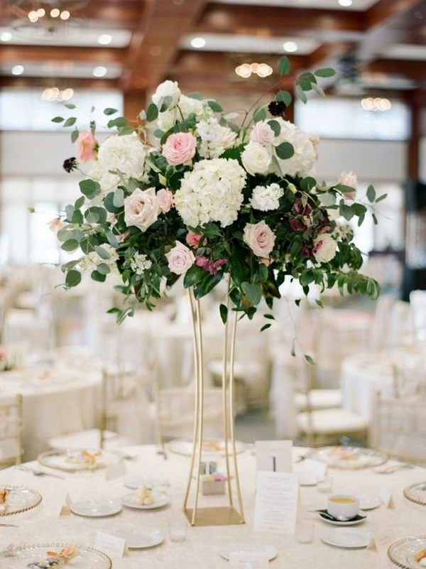 tall hydrangea roses and eucalyptus chic wedding centerpiece