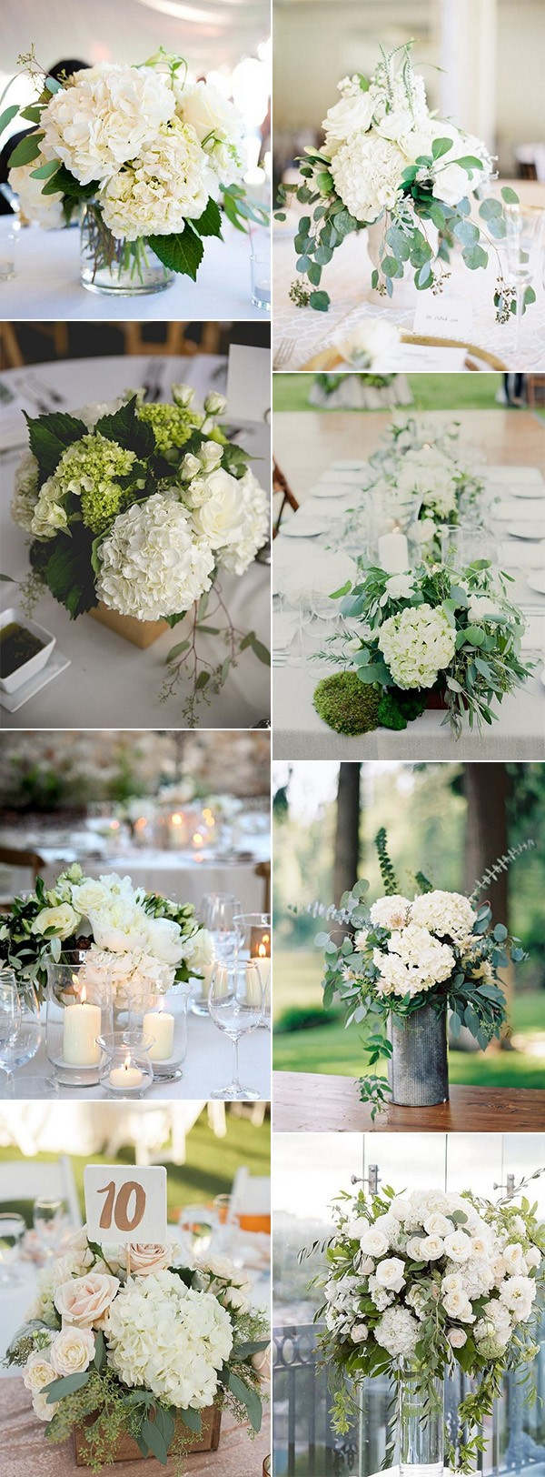 trending hydrangea and eucalyptus wedding centerpiece ideas