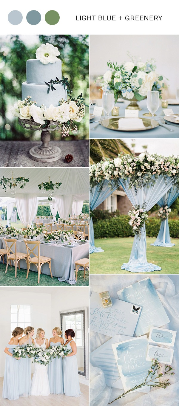 trending light blue and greenery wedding color ideas for spring summer 2019