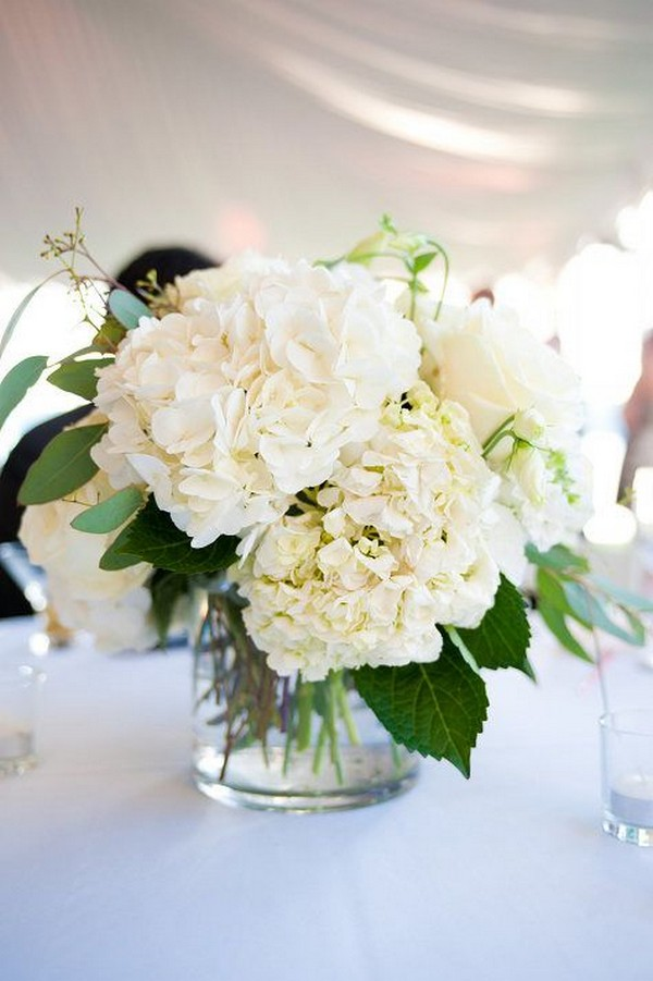 white and greenery Hydrangea and eucalyptus wedding centerpiece