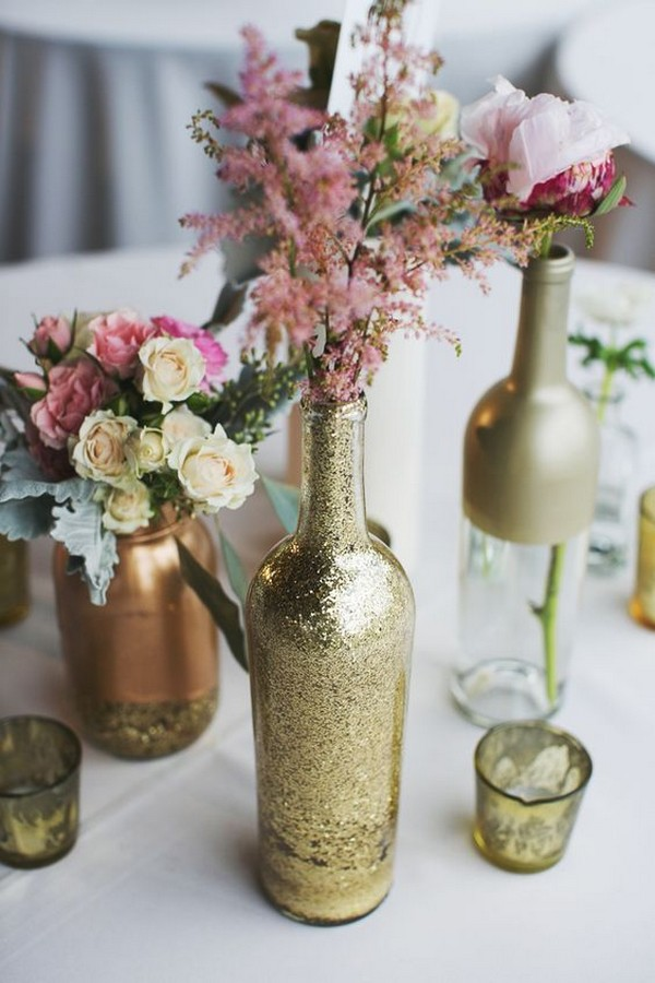 wine bottles creative wedding centerpiece