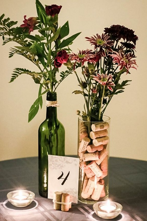wine themed wedding centerpiece ideas with wine bottle and corks