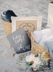winter beach themed dusty blue and sand wedding ideas