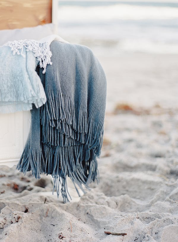 winter beachside wedding