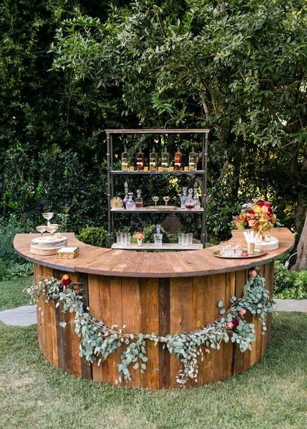 wooden bar for outdoor backyard fall wedding ideas