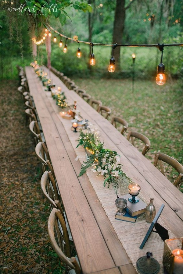 woodland forest themed wedding reception ideas