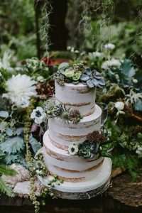 woodland themed wedding cake with succulent