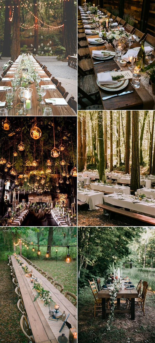 woodland themed wedding reception decoration ideas