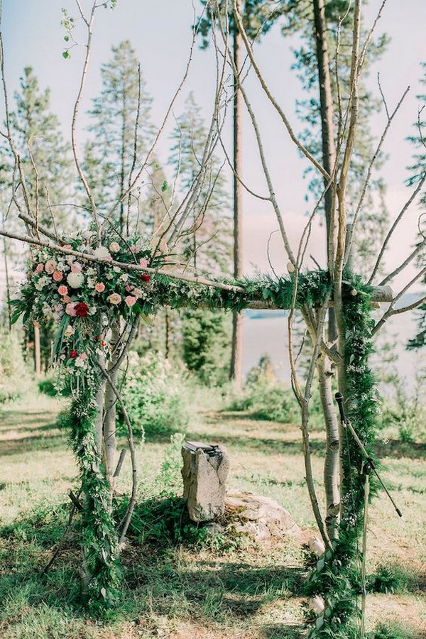 woodland wedding arch decoration ideas