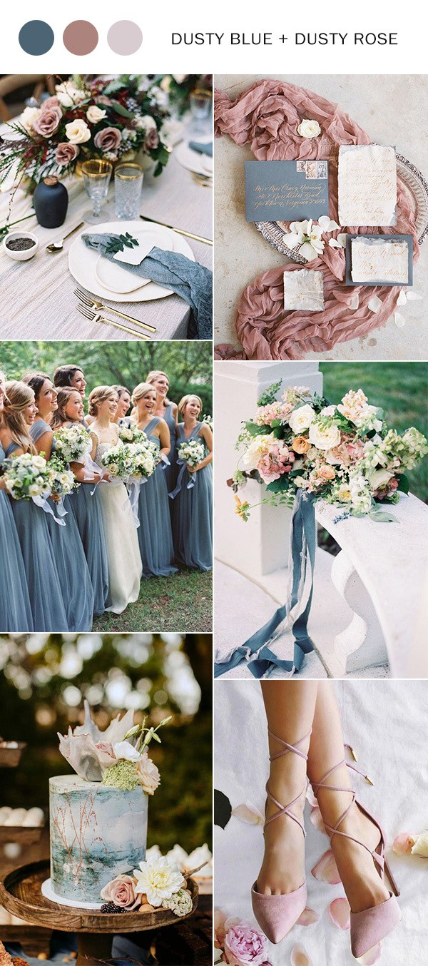 2019 trending dusty blue and dusty rose wedding color ideas