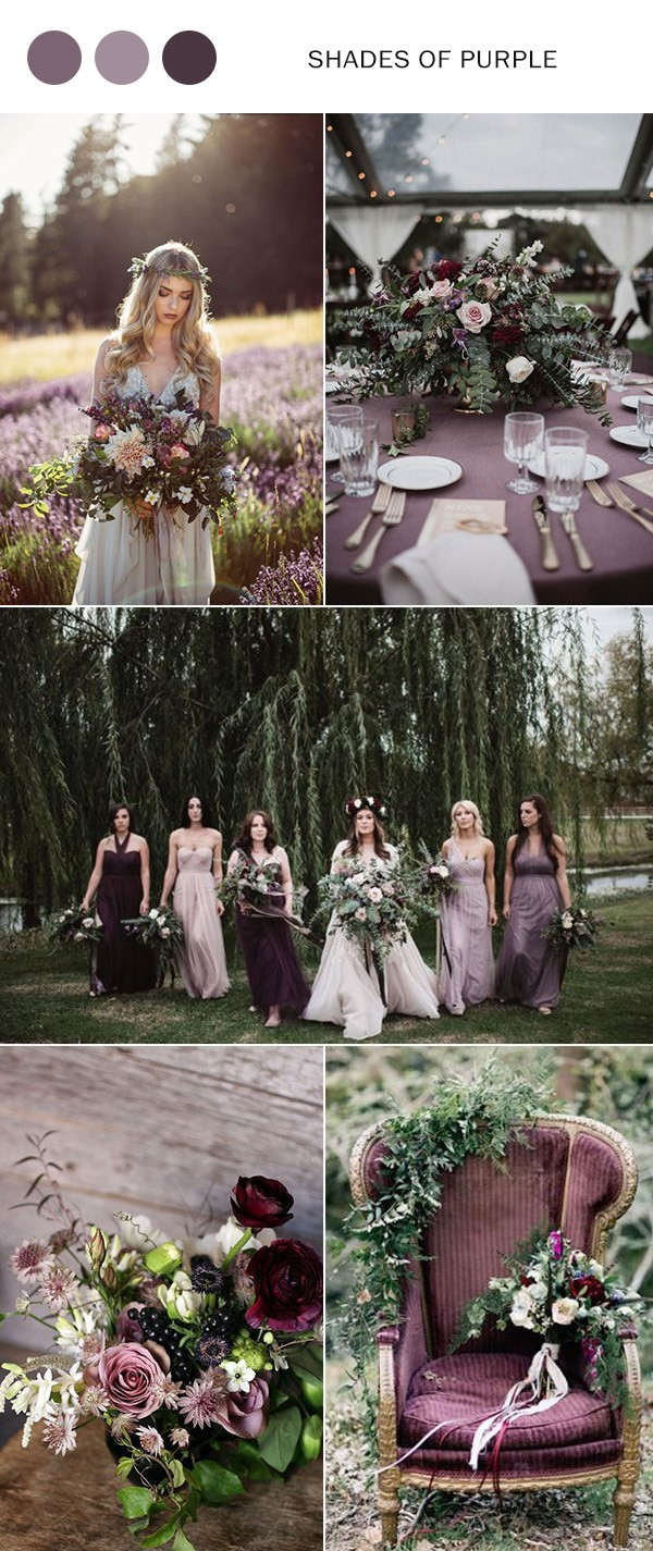 2019 trending shades of purple wedding color ideas