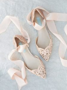 Blush pointed toe flats bridal shoes