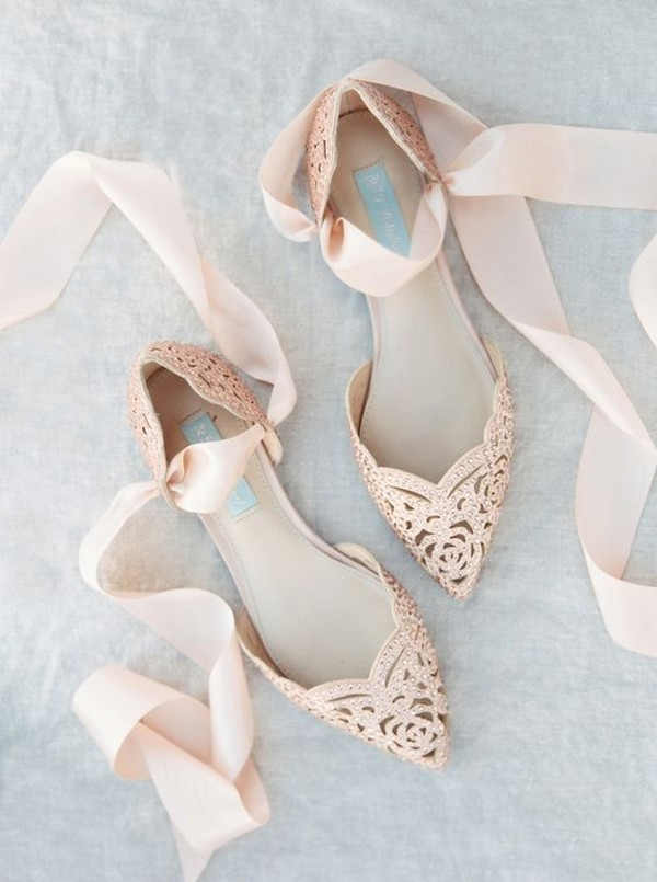 Blush pointed toe flats bridal shoes