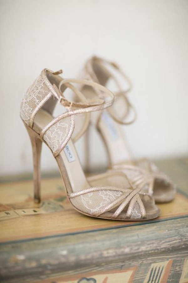 Jimmy Choo lace neutral wedding shoes