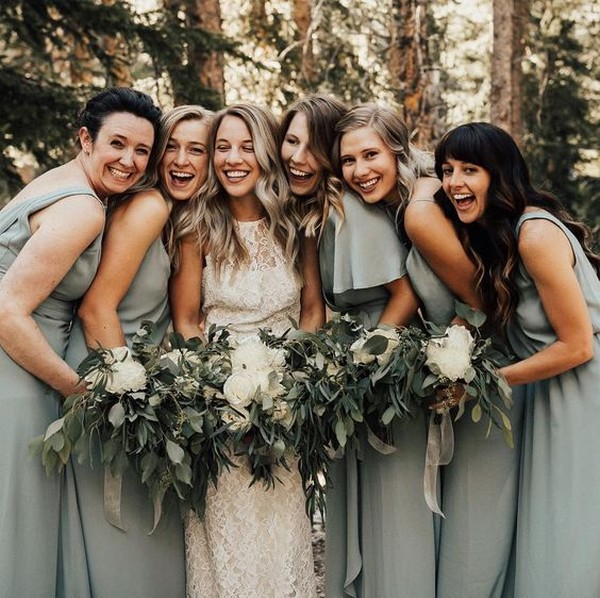 boho greenery bridesmaid dresses