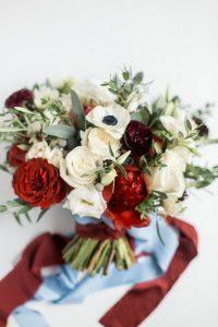 burgundy and dusty blue wedding bouquet
