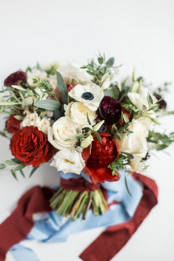 burgundy and dusty blue wedding bouquet