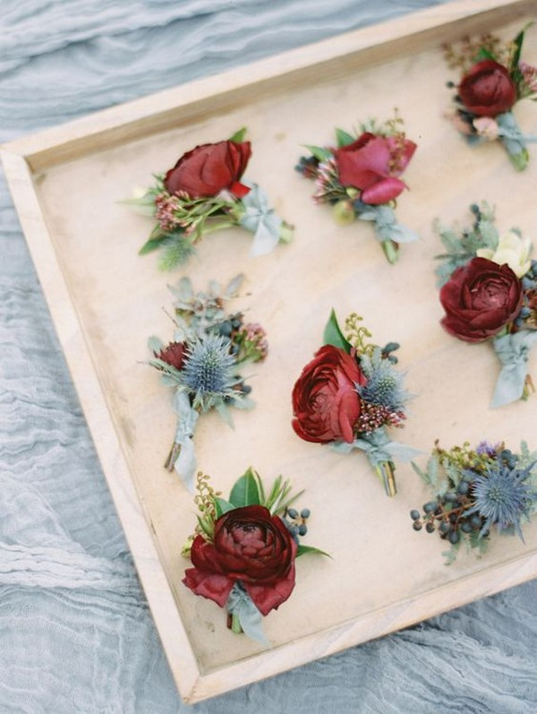 burgundy and dusty blue wedding boutonniere ideas