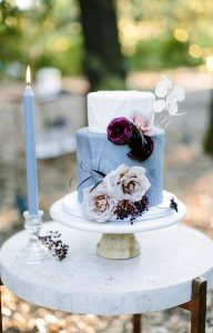 burgundy and dusty blue wedding cake