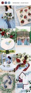 dusty blue and burgundy wedding color ideas