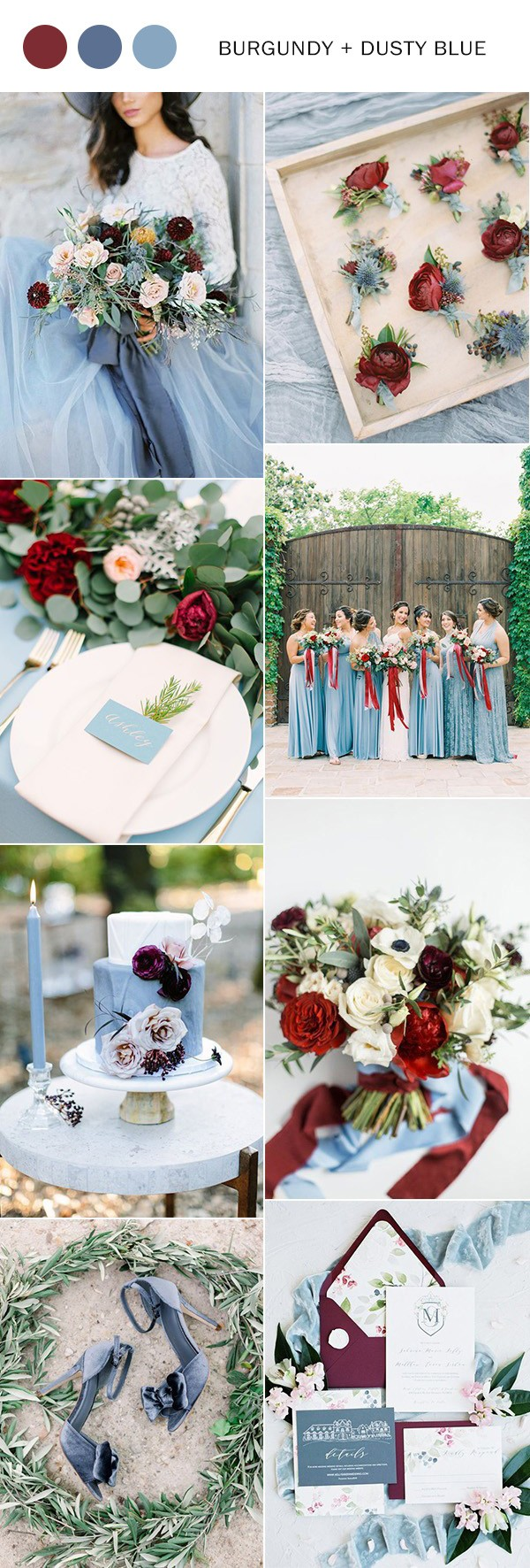 dusty blue and burgundy wedding color ideas